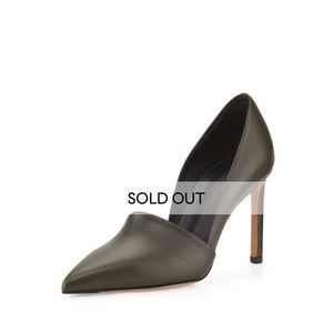 Vince Gray Cosette Leather Pointed Toe Heel